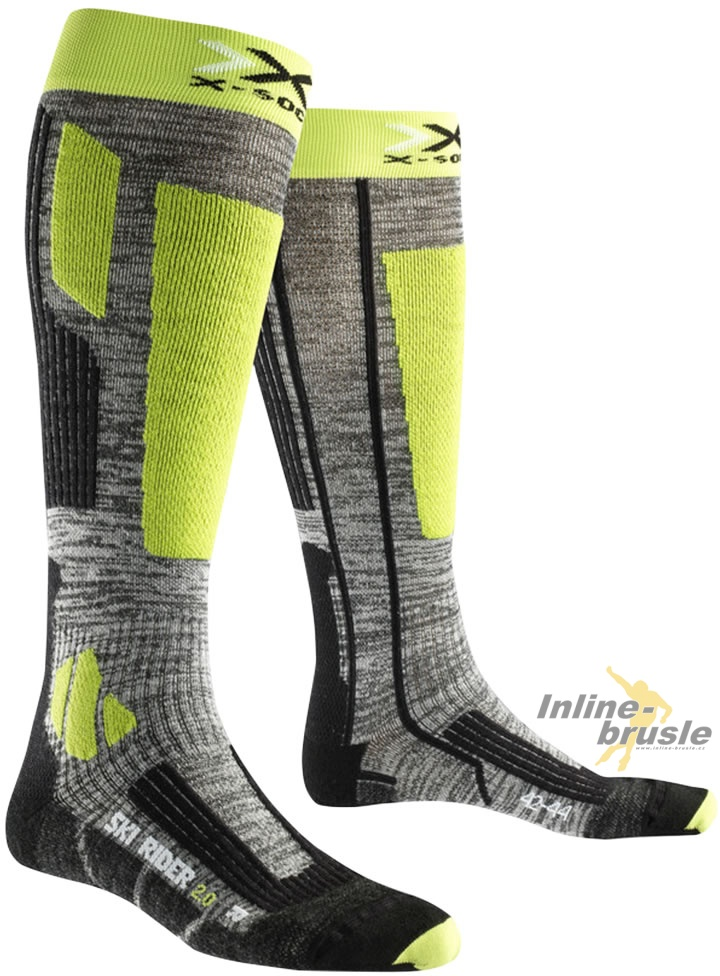 Ski Rider 20 Long Grey Melange/Green Lime